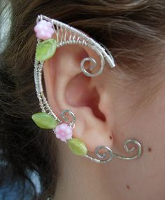 Pair of Silver Woven Wire Elf Ear Cuffs with Pink by jhammerberg