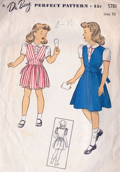 1940s Girls Jumper and Blouse vintage sewing pattern, School Style, DuBarry 5781 Size 10