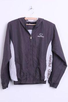 Fred Perry Sportswear Youth 33 Womens S/M Jacket Hood Dark Grey Bomber - RetrospectClothes