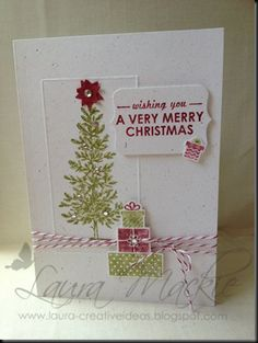 """Lovely as a Tree & Wishing You. Note the scoring to create a """"frame"""". I imagine she did the scoring first then stamped within the frame with the stamp-a-ma-jig"""
