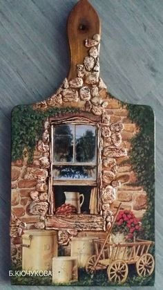 Diy Crafts - VK is the largest European social network with more than 100 million active users. Decoupage Art, Decoupage Vintage, Wine Bottle Crafts, Bottle Art, Tole Painting, Painting On Wood, Wood Crafts, Diy And Crafts, Diy Cutting Board