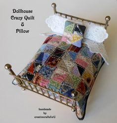Dollhouse Quilt,  Crazy Quilt, Pillow, Bedding, Shabby Chic, Handmade OOAK…