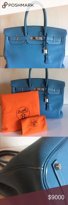 """HERMES TOGO BLUE JEAN BIRKIN 35cm Hermes blue jean togo Birkin bag 35cm 14"""" x 7.5"""" x 10.75"""" Palladium hardware  Blind stamp H in a square indicates a 2004 year of production Comes with cloche and matching keys and original dust covers Gently worn on base corners. Subtle pen mark on interior base. Interior lining of pocket dingy. Some gentle wear on handles. See photos.  Overall in very good condition. Hermes Bags Satchels"""