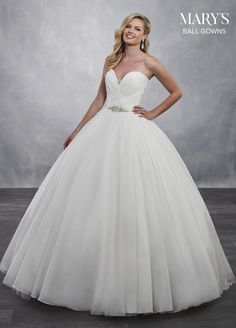 Marys Bridal Bridal Ball Gowns dress with Style - Fabric - Tissue  Organza Tulle Satin and Color - Ivory or White 343b00962214