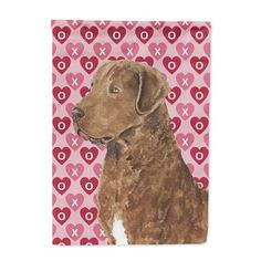 Chesapeake Bay Retriever Hearts Love and Valentine's Day Flag House Size, Multicolor