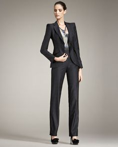Giorgio Armani  Tonal-Check Suit & Short Sleeve Abstract-Print Blouse