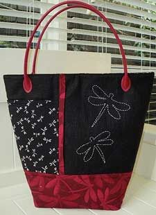 Simple bag with sashiko design