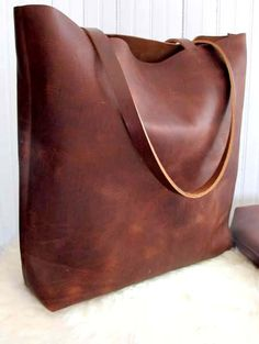 Distressed Brown Leather Tote Bag , Leather Travel Book Bag , Leather Market bag. $205.00, via Etsy.