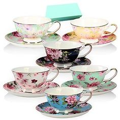 Tea Cup and Saucer Set of 6 Floral Tea Cups 8 Oz. Bone China Porcelain NEW