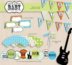 ROCK GUITAR Boy Baby Shower Printable Package by PrintasticDesign, $25.00