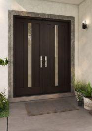 Modern 2 Flat Panel Center Lite Shaker Mahogany Exterior or Interior Double Door Modern Entrance Door, Modern Exterior Doors, House Exterior, Double Doors Interior, Fall Ceiling Designs Bedroom, Modern Exterior, Exterior