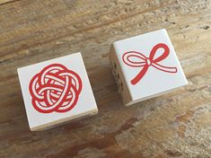 Pretty Japanese Mizuhiki Wooden Rubber Stamp for cards tags