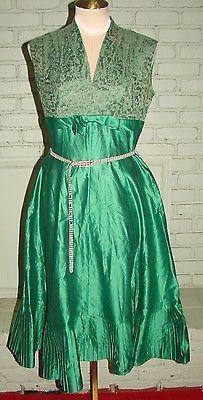 Vintage 50s Green Cocktail Dress Rhinestones & Lace M 36 Bust
