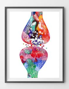Human nerve cell synapse receptor watercolor print by MimiPrints