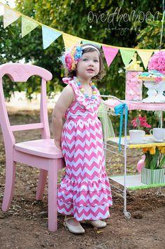 children girl princess long maxi dresses,adorable cotton chevron pattern dress for summer kids girl 2013