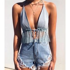 Women Sleeveless Crop Top Backless Vest Top V neck Halter Short Bralette Bustier Mesh Ruffles Shirts For Girls Cute Summer Outfits, Outfits For Teens, Spring Outfits, Trendy Outfits, Diy Summer Clothes, Outfit Ideas Summer, Summer Fashion Outfits, Summer Vacation Clothes, Summer Beach Fashion