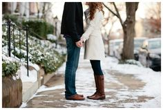 Snowy Engagement Session. - love the outfit ideas