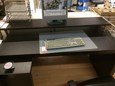 IKEA Malm desk with pull-out panel $149; Ekby Amund/Capita Add-On Shelf $43.99