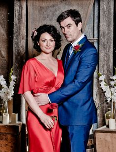Moira and Cain's wedding, Thursday 15th May 2014. Stunning Anita Massarella Red Gown.