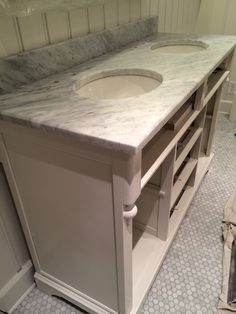 Before and After: A Buffet Turned Bathroom Vanity - Old Town Home Keyhole Covers, Heating And Plumbing, How To Lean Out, Bath Girls, Glass Knobs, Custom Cabinets, Drawer Fronts, Marble Top, Restoration Hardware