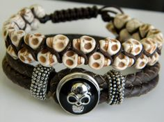 Skull Men Bracelets  Reserved for Alexis D PR by CaldasBijoux, $75.00