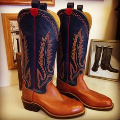 """Cowboy Boot with 16"""" Blue uppers with Tan Anvil vamps and Brown Elephant counters. #beckcowboyboots #beckboots #customboots #boots #cowboyboots #handmadecowboyboots #madeintexas"""