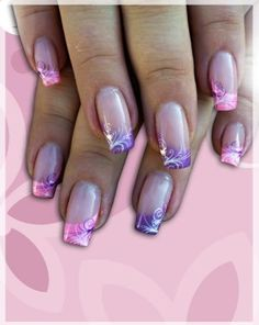 Pretty pink and purple with a touch of glitter nails