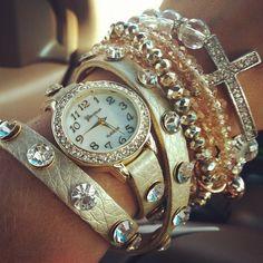 Glitz Bling Watch Layer Bracelets Cross