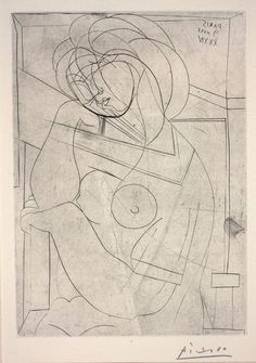'seated Nude, her head leaning on her hand from vollard suite' by pablo picasso (1934)