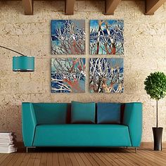 E-HOME® Stretched Canvas Art Abstract The Branches Decoration Painting Set of 4 - SEK Kr. 908