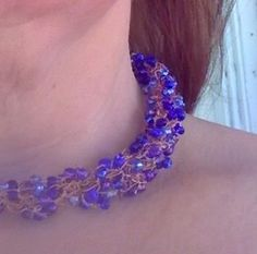 Wire Crochet Necklace with Glass Beads by artistrcool on Etsy, $20.00