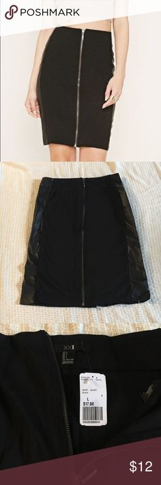 NWT Forever 21 Zip Front Leather Paneled Skirt Black pencil skirt with faux leather on the sides. Never worn! Size L. Forever 21 Skirts Pencil