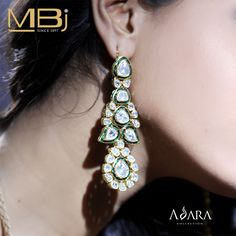 Polki earrings with green enamel from ADARA collection of MBj.