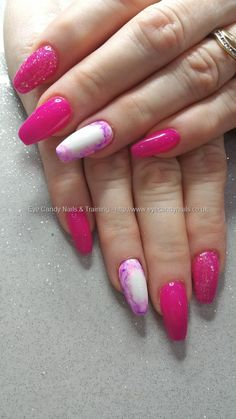 Bright pink gel polish with glitter and sharpie nail art #NailArt #Nails Taken at:19/02/2016 13:16:06 Uploaded at:25/02/2016 19:54:07 Technician:Elaine Moore
