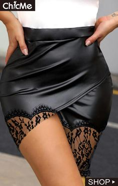 Sexy Skirt, Dress Skirt, Cute Skirts, Mini Skirts, Sexy Stiefel, Lace Trim Skirts, Elle Fashion, Gothic Fashion, Leder Outfits