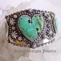 Schaef Designs turquoise heart & Sterling silver cuff bracelet | New Mexico