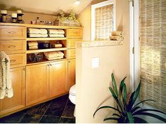 love the storage cabinets and floor tile...