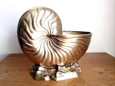 Vintage Large Solid Brass Nautilus Shell Planter - Hollywood Regency Seashell Ocean Beach House Decor by LeBeauHaus