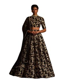 Title: Black sequins embellished raw silk lehenga choli & dupatta set. Size: Free Color: Black Fabric: Raw Silk Type: Embroidered Occasion: Festive, Wedding, Ceremony, Party Neck Type: Round Neck Sleeve Type: Half Sleeve Price : 3800/- For orders / enquiry WhatsApp @ +91-9311187463 you can also Visit our website : http://www.suit-sarees.com