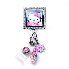 Square Hello Kitty Charm Locket Badge Reel Retractable ID Badge Holder