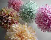 Tea Party ... 5 tissue paper poms // wedding ceremony // birthday // anniversary // party decorations. $18.00, via Etsy.