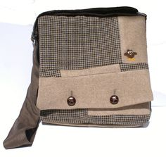 Tan Owl IPad Bag Messenger Bag Padded IPad Bag by Tweedable