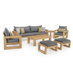 RST Brands Benson Wood Patio Conversation Set with Bliss Blue – The Home Depot – Wooden Sofa Designs Best Outdoor Furniture, Patio Furniture Sets, Pallet Furniture, Modern Furniture, Furniture Design, Antique Furniture, Outdoor Sofas, Furniture Market, Furniture Assembly