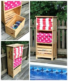 diy poolside storage unit using crates Source by Related posts: Poolside Storage Unit Simple DIY Pallet Pool Storage Poolside… Pool Towel Storage, Bath Toy Storage, Pool Towels, Diy Storage, Storage Ideas, Storage Crates, Storage Units, Bedroom Storage, Small Storage