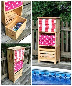 diy poolside storage unit using crates Source by Related posts: Poolside Storage Unit Simple DIY Pallet Pool Storage Poolside…
