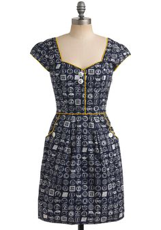 Postmistress General Dress from Modcloth. The fabric pattern is all postmarks. $78