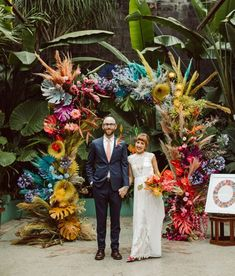 Married under an LA rainbow! Green Wedding Shoes shares this RAD wedding with wild, whimsical details that are radiating off of this rainbow floral arch in Downtown LA's Green Room venue - with tropical florals + ocean-inspired decor. Floral Wedding, Wedding Colors, Wedding Flowers, Boutonniere, Rainbow Wedding, Summer Wedding, Floral Arch, Grace Loves Lace, Bridal Shower Rustic