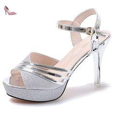LvYuan Femme Sandales Confort Gomme Eté Marche Confort Boucle Talon Aiguille Or Argent Moins de 2,5 cm , gold , us6.5-7 / eu37 / uk4.5-5 / cn37 - Chaussures lvyuan (*Partner-Link)