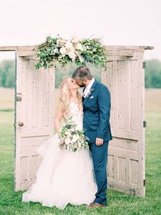 7 Ideas for your Outdoor Wedding Ceremony Arch Distressed wooden doors as a rustic wedding ceremony backdrop. Always aspired to discover ways to knit, nonetheless not . Wedding Ceremony Ideas, Wedding Altars, Wedding Venues, Wedding Backdrops, Wedding Ceremonies, Wedding Aisles, Wedding Decorations, Outdoor Ceremony, Garden Wedding