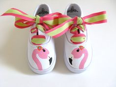 Girls Flamingo Shoes, Baby and Toddler, Hand Painted, Kids Bird Sneakers, Cotton Canvas